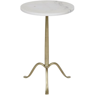 Cosmopolitan Side Table, Antique Brass, Metal and Quartz