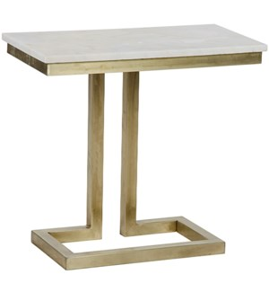 Alonzo Side Table, Antique Brass and White Marble