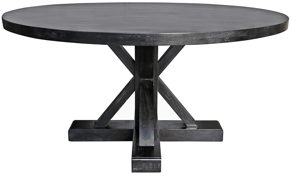 """Criss-Cross Round Table, 60"""", Hand Rubbed Black"""