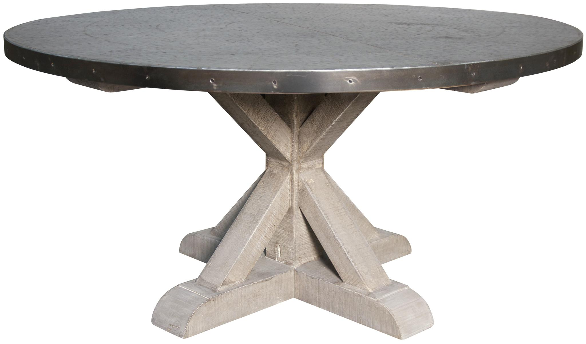 QS Zinc Round Table With X Base Vintage