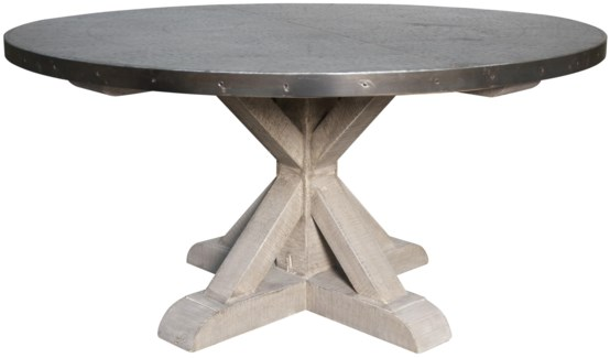 QS Zinc Round Table with X Base, Vintage