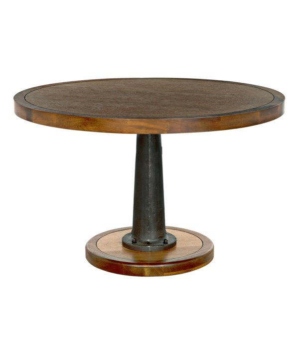 """Yacht Dining Table with Cast Iron Pedestal, 48"""""""