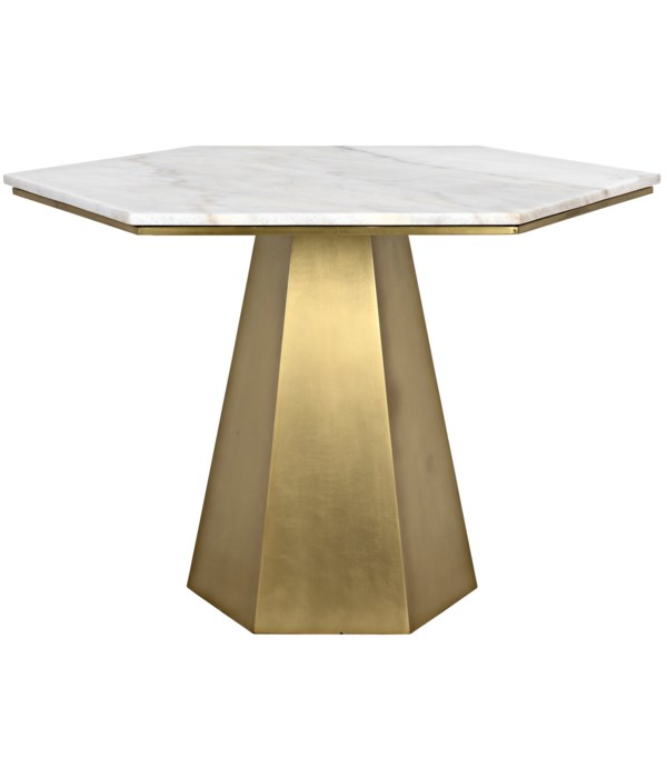 Demetria Table, Steel and White Marble