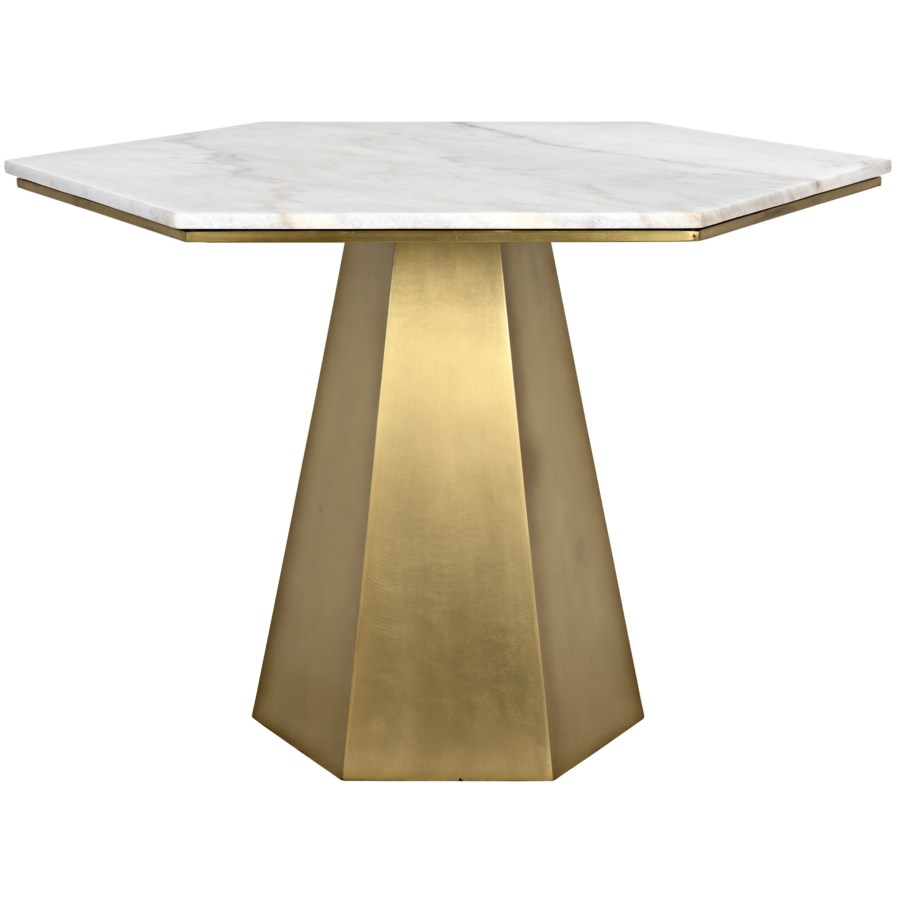 Demetria Table, Metal and Quartz