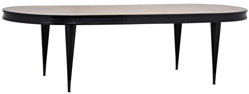 Manolo Dining Table, Hand Rubbed Black with Natural Top