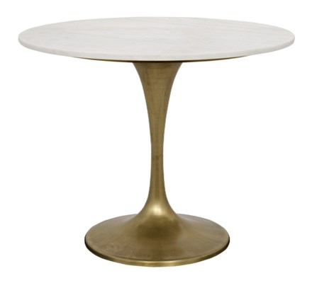 "Laredo Table, 36"", Antique Brass, White Marble Top"