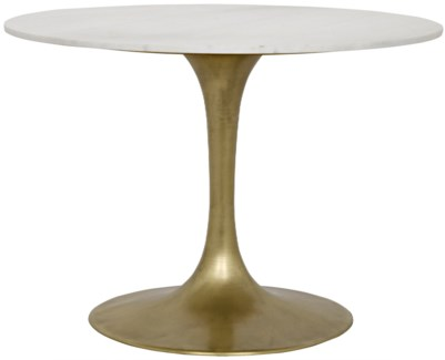 "Laredo Table, 40"", Antique Brass, White Marble Top"