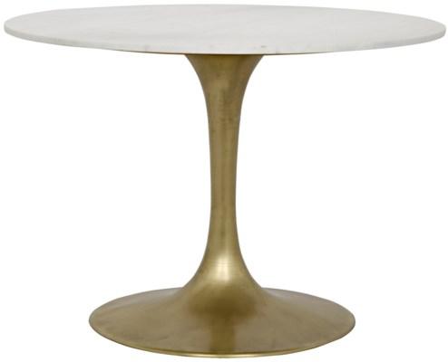"Laredo Table, 40"", Antique Brass, White Marble Top"