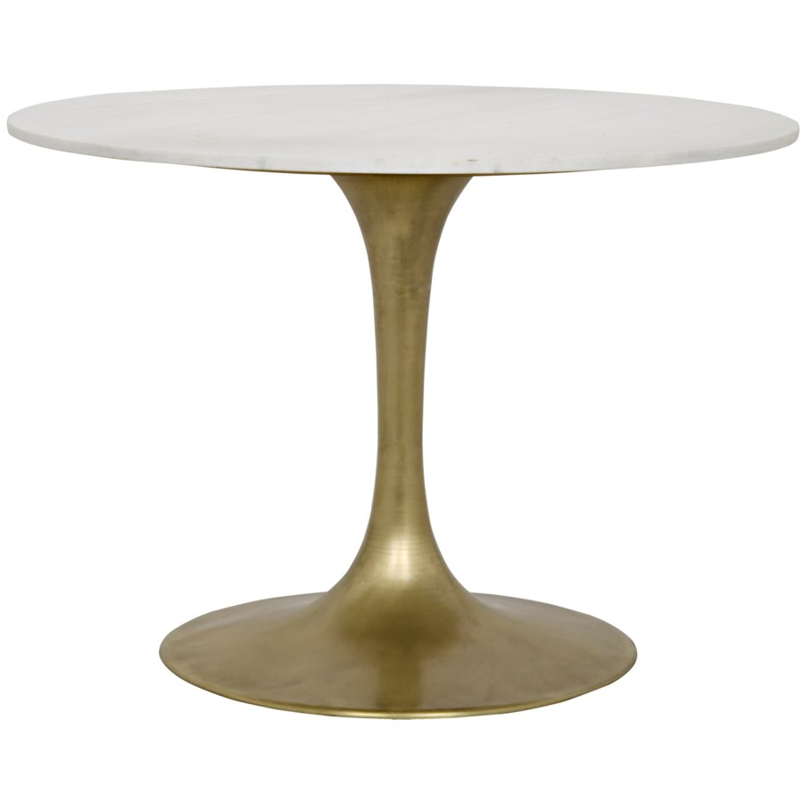 "Laredo Table, 40"", Antique Brass, White Stone Top"
