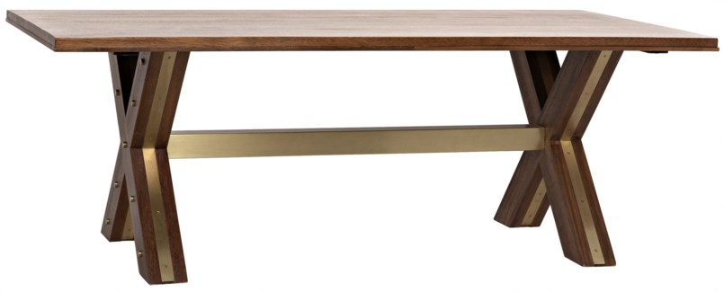 Millennium Dining Table, Dark Walnut, Walnut with Brass