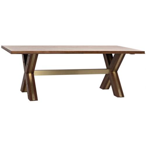 Millennium Dining Table, Dark Walnut, Walnut with Brass