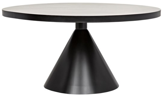 Cone Dining Table, Black Metal