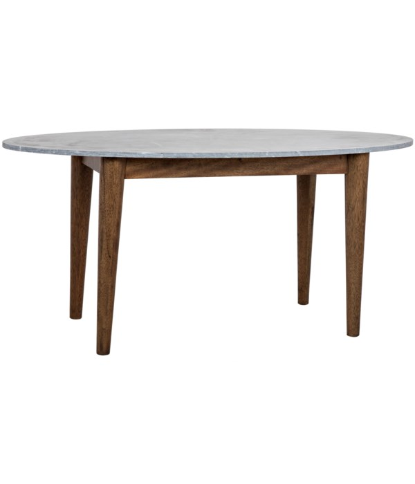 Surf Oval Dining Table with Black Marble Top, Dark Walnut