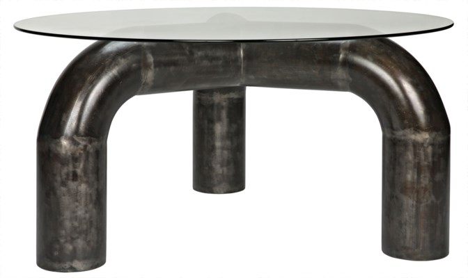 Parsifal Dining Table with Black Metal Base