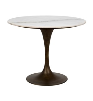 """Laredo Table 36"""", Aged Brass, White Marble Top"""