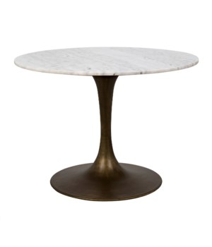 "Laredo Table 40"", Aged Brass, White Marble Top"