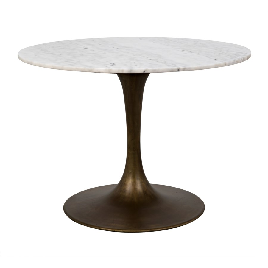 "Laredo Table 40"", Aged Brass, White Stone Top"