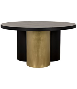 Huxley Dining Table, Black Metal w/Brass Finished Accent