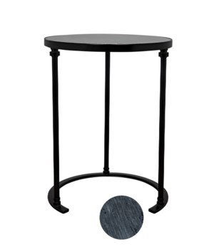 Molly Side Table, B, Black Metal with Marble