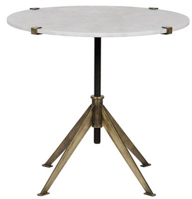 QS Edith Adjustable Side Table, Large, Antique Brass, Metal and Quartz