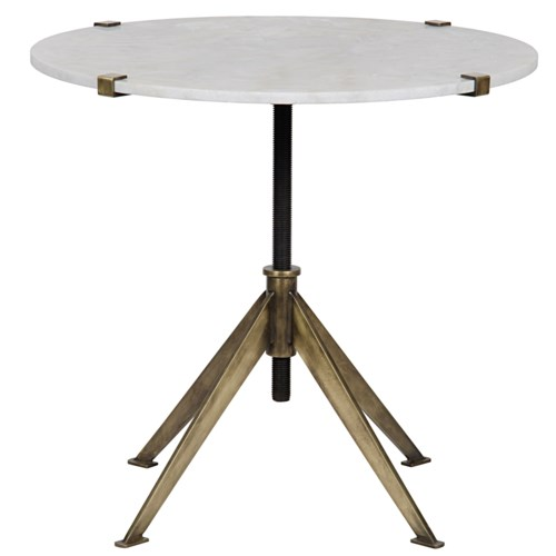 Edith Adjustable Side Table, Large, Antique Brass, Metal and Quartz
