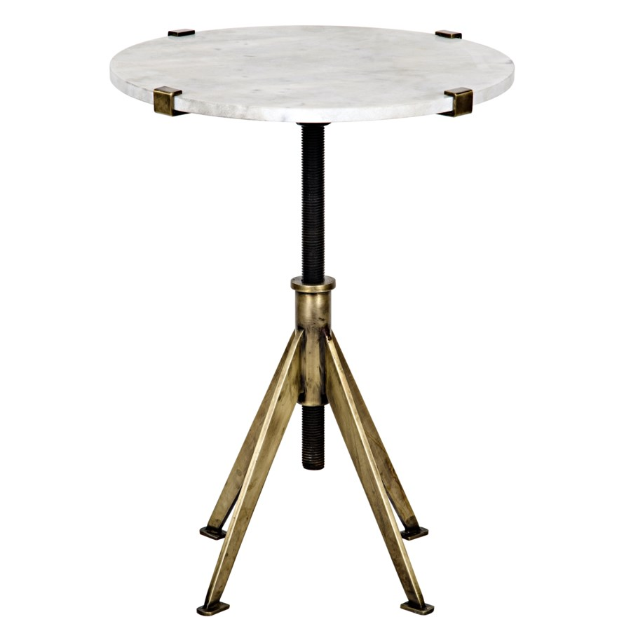 Edith Adjustable Side Table, Small, Antique Brass, Metal and Quartz