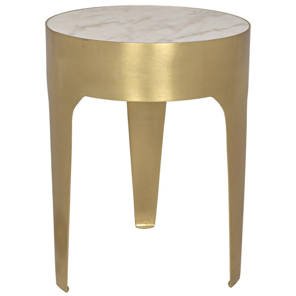 Cylinder Side Table Small As Is Metal And Quartz