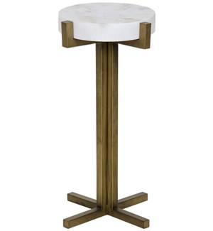 Sardo Side Table, Antique Brass and White Marble