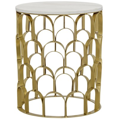 Mina Side Table, Antique Brass, Metal and Stone