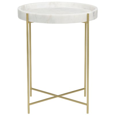 Chico Side Table, Antique Brass, Metal and Stone