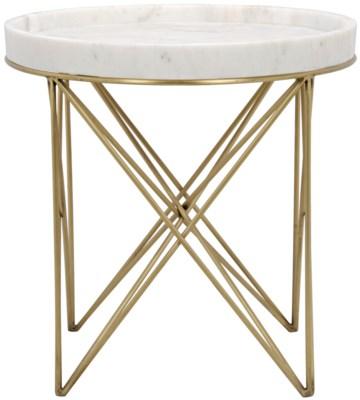 Prisma Side Table, Metal and Quartz