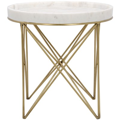 Prisma Side Table, Metal and Quartz