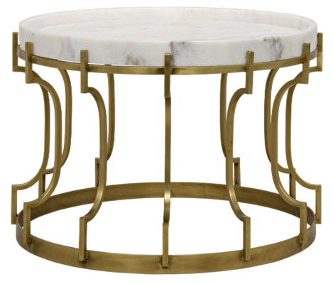 Corium Side Table, Antique Brass, Metal and Quartz
