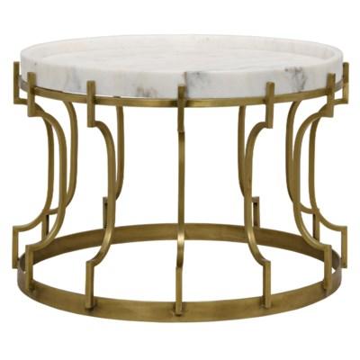 Corium Side Table, Antique Brass, Metal and Quartz