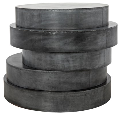 Disk Side Table, Plain Zinc