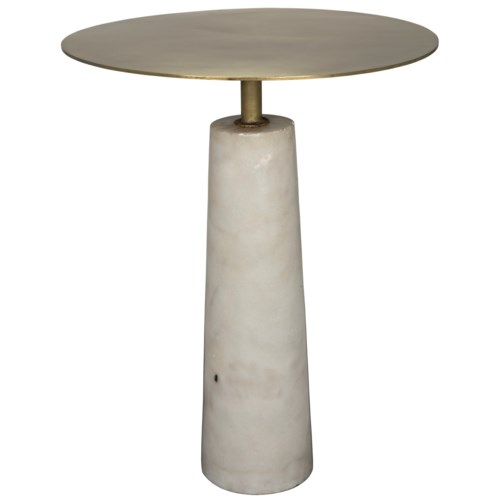 Hotaru Side Table, White Marble and Antique Brass