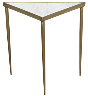 Comet Triangle Side Table, Large, Marble, Steel with Brass Finish