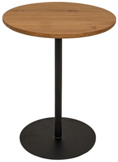 Ford Tall Side Table, Gold Teak with Metal Base