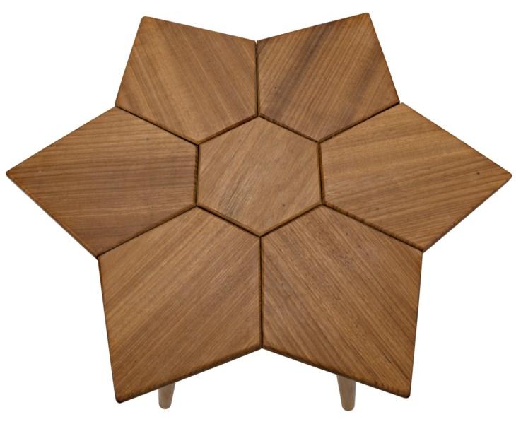 Petal Side Table, Gold Teak