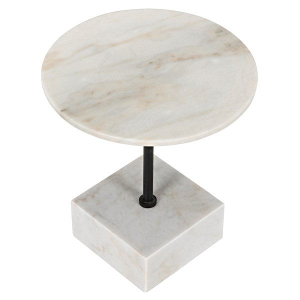Rodin Side Table, Black Metal Finish with White Stone