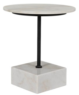 Rodin Side Table, Matte Black Finish W/White Stone