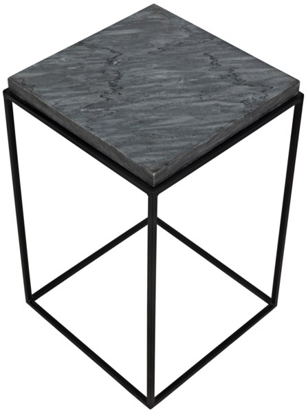 Lamar Side Table, Matte Black Finish W/Black Stone