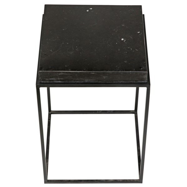 Lamar Side Table, Black Metal Finish with Black Stone