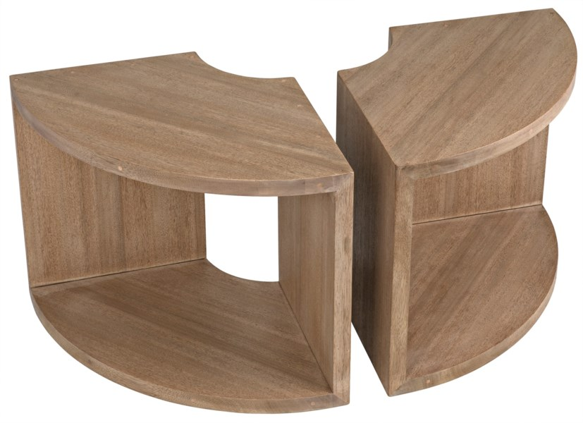 Segment Side Table, One Piece, Washed Walnut