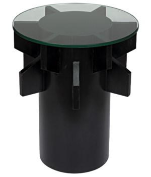 Torpedo Side Table w/Glass Top, Hand Rubbed Black