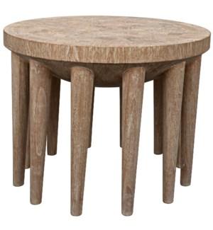 Namaste Side Table, Distressed Mindi