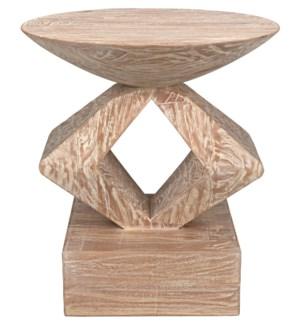 Sergio Side Table, Distressed Mindi