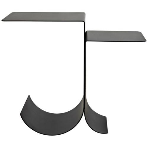 Rolling Side Table, Black Metal