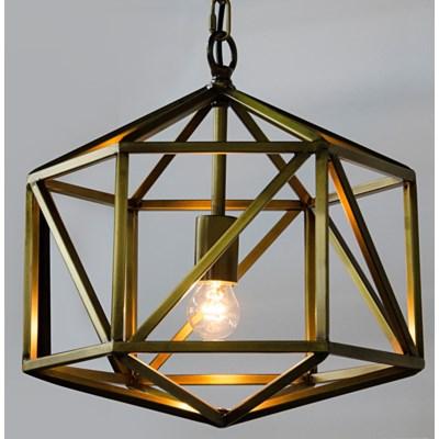 Diamond Pendant, C, Antique Brass