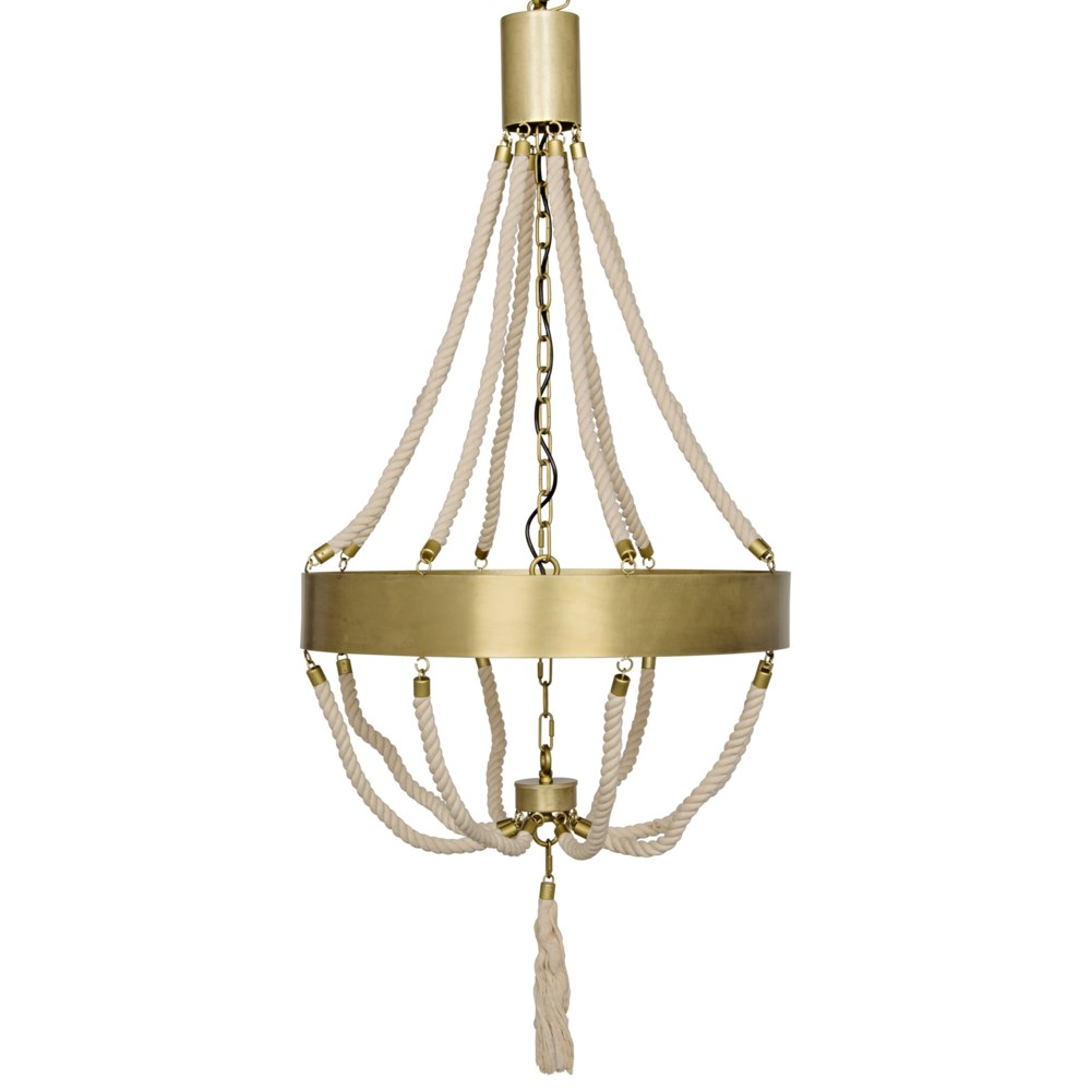 Alec Chandelier, Antique Brass and Rope